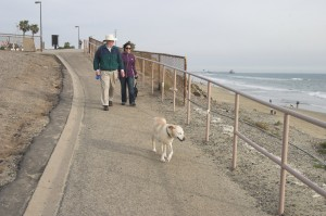 Michele and FIL Alvin walking dogs on beach